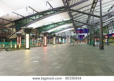 LEIPZIG, GERMANY - SEP 10: Airport interior on September 10, 2014. Leipzig Airport is an international airport located in Schkeuditz, Saxony and serves both Leipzig, Saxony and Halle, Saxony-Anhalt.