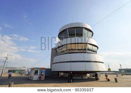 DUSSELDORF - SEP 16: control tower on September 16, 2014 in Dusseldorf, Germany. Dusseldorf Airport is the international airport of Dusseldorf, the capital of the German state North Rhine-Westphalia