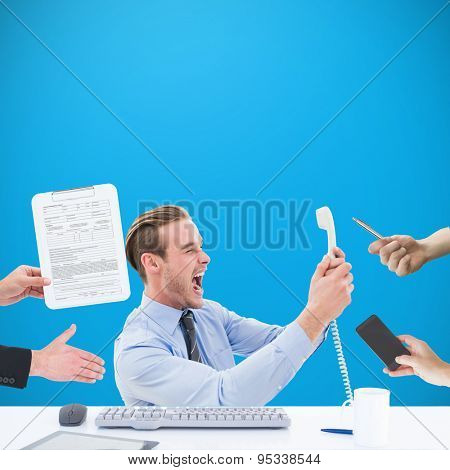 Businessman in suit offering his hand against blue background with vignette