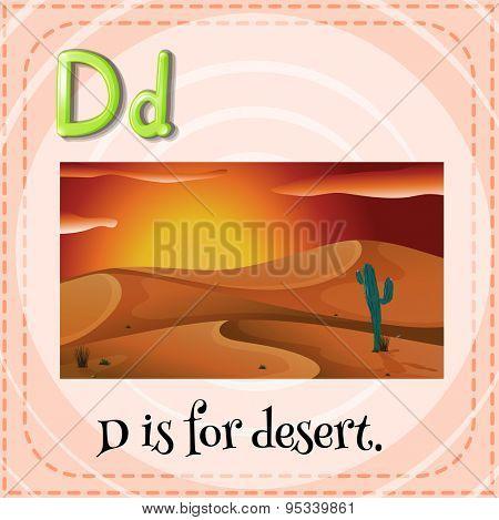 Flashcard alphabet D is for desert