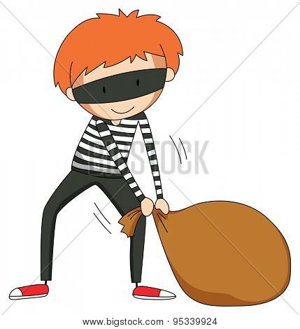 Poster of a robber dragging a sack of valuables he stole