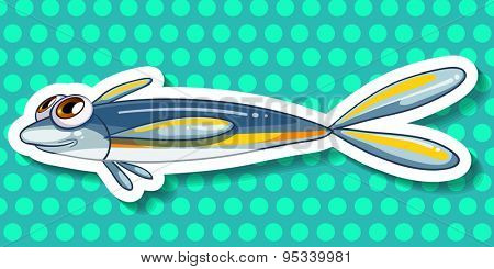 Sticker of a fish on a blue background