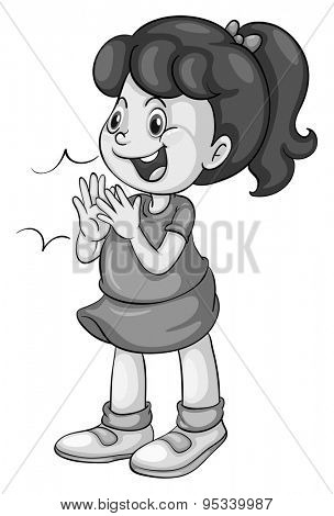 Poster of a girl clapping and smiling on a white background