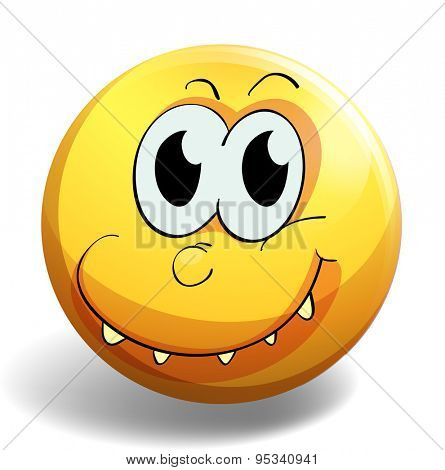 Yellow facial expression emoticon with smiling teeth