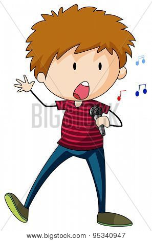 Singing boy character standing alone