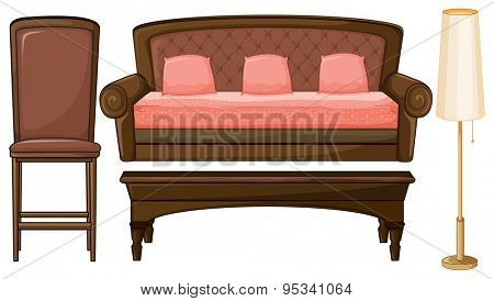 Set of living room furniture with brown and pink theme