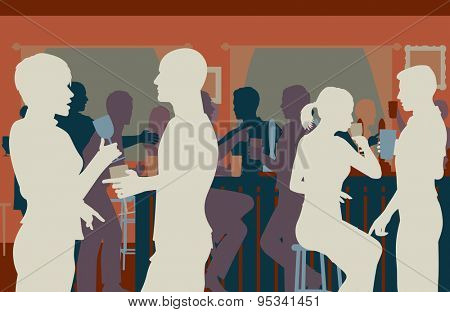 EPS8 editable vector cutout illustration of people drinking in a busy bar