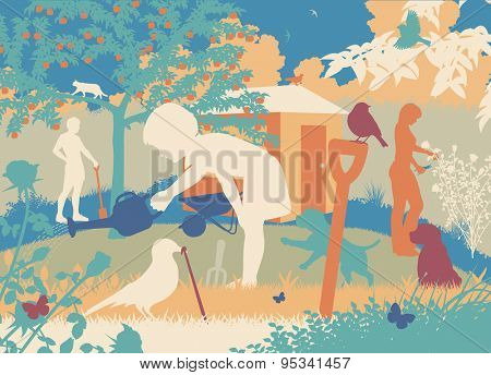 Colorful editable vector cutout illustration of a family gardening with puppies and wildlife