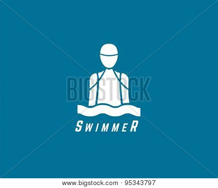 Abstract vector element. Swimmer or dive club or triatlon logo template. Stock illustration for design