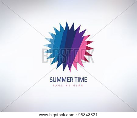 Abstract vector logo element. Sun, star, summer and holiday. Stock illustration for design