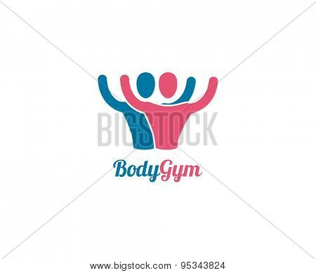 Abstract vector logo element. Sport, men, power and command. Stock illustration for design