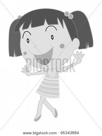 Happy girl in skirt walking alone