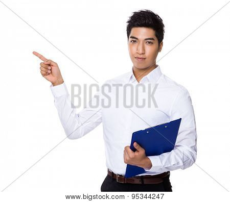 Businessman hodl with clipboard and finger point up