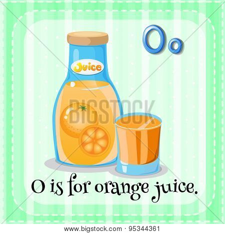 Flashcard letter O is for orange juice