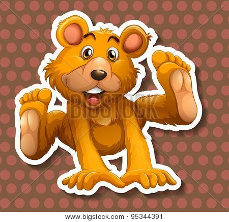 Cute little bear smiling on polka dots background