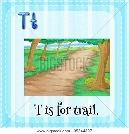 Flashcard letter T is for trail