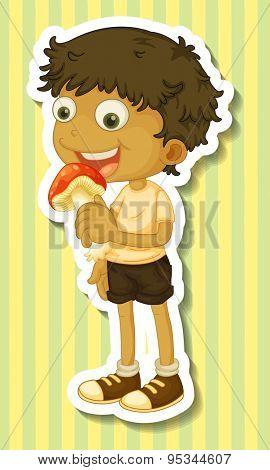 Happy boy eating mushroom alone