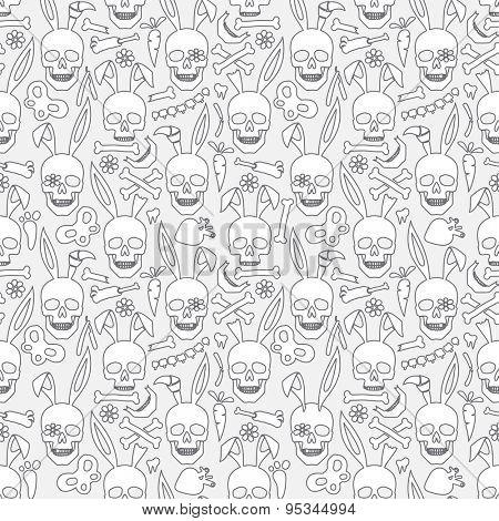 bunny skull seamless dark wallpaper