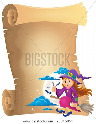 Parchment with cute witch theme 1 - eps10 vector illustration.