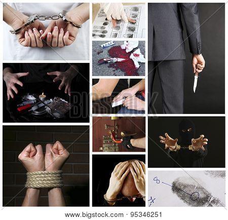 Conceptual collage of crime