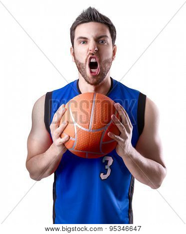 Basketball Player on a blue uniform isolated on white background