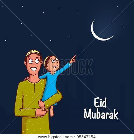 Muslim community festival, Eid Mubarak celebration with illustration of a kid in his father's lap, pointing towards crescent moon in night background.