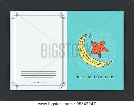 Muslim community festival, Eid Mubarak celebration greeting card with creative colorful crescent moon  and star on floral decorated sky blue background.