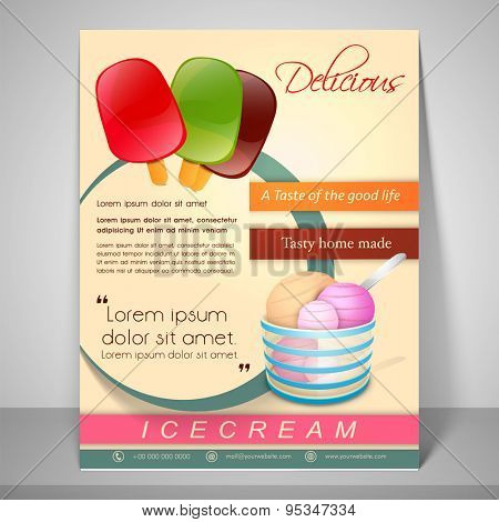 Stylish menu for delicious ice cream with address bar, place holder and mailer.