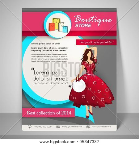 Colourful banner and flyer for boutique with young fashionable girl, address bar, place holder and mailer.
