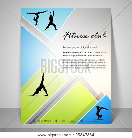 Abstract flyer design for fitness club with dancing silhouette, address bar, place holder and mailer.