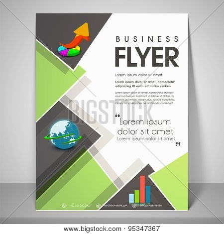 Stylish flyer design for business with image of pie graph, globe, address bar, place holder and mailer.