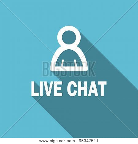 live chat flat icon  original modern design flat icon for web and mobile app with long shadow