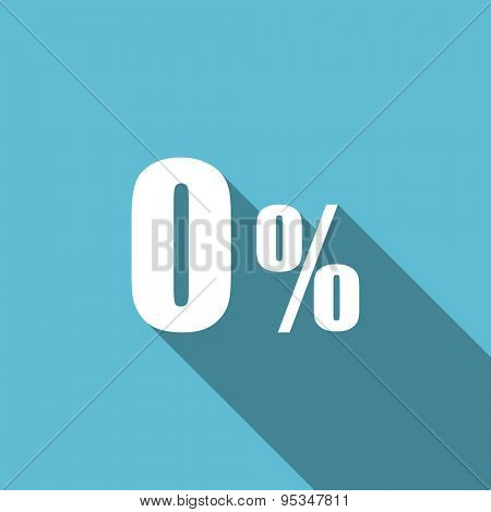 0 percent flat icon sale sign original modern design flat icon for web and mobile app with long shadow