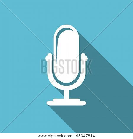microphone flat icon podcast sign original modern design flat icon for web and mobile app with long shadow