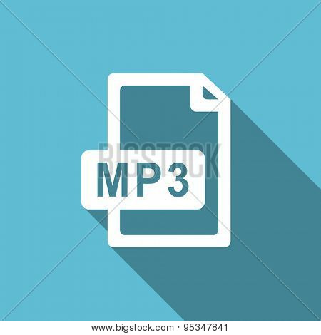 mp3 file flat icon  original modern design flat icon for web and mobile app with long shadow