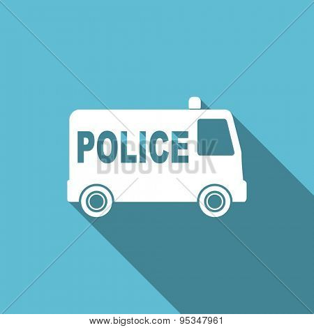 police flat icon  original modern design flat icon for web and mobile app with long shadow