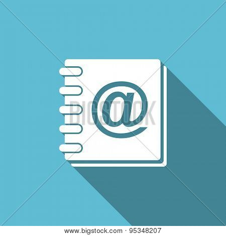 address book flat icon  original modern design flat icon for web and mobile app with long shadow