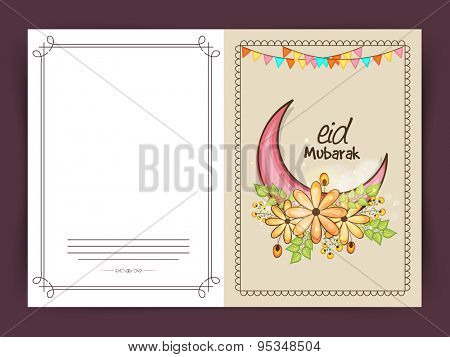 Muslim community festival, Eid Mubarak celebration greeting card decorated by colorful moon and flowers.