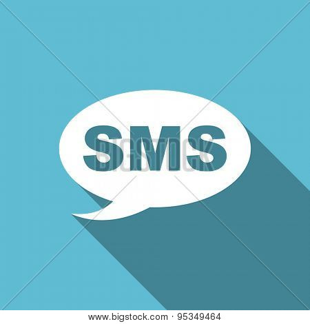 sms flat icon message sign original modern design flat icon for web and mobile app with long shadow