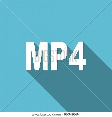 mp4 flat icon  original modern design flat icon for web and mobile app with long shadow