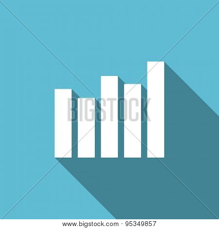 graph flat icon bar graph sign original modern design flat icon for web and mobile app with long shadow