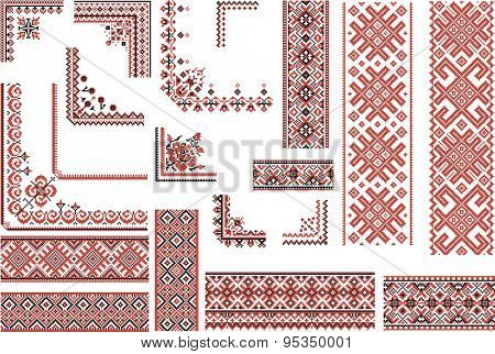 Set of editable ethnic patterns for embroidery stitch in red and black. Borders and corners.