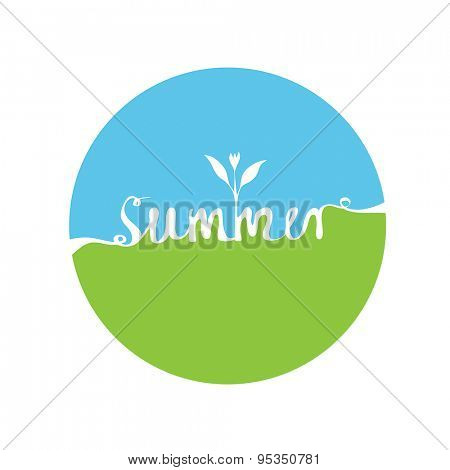 Round logo with hand-written word SUMMER, lettering. Vector illustration