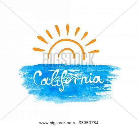 Hand-written word CALIFORNIA on water and sun, lettering. Vector illustration