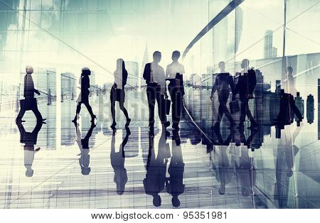 Business People Talking Commuter Rush Hour Concept