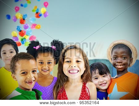 Children Kids Diversity Outdoors Happiness Cheerful Concept