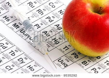 Apple Lying On Periodic Table