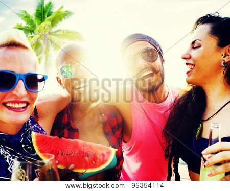 Friends Beach Vacation Relaxing Chilling Concept