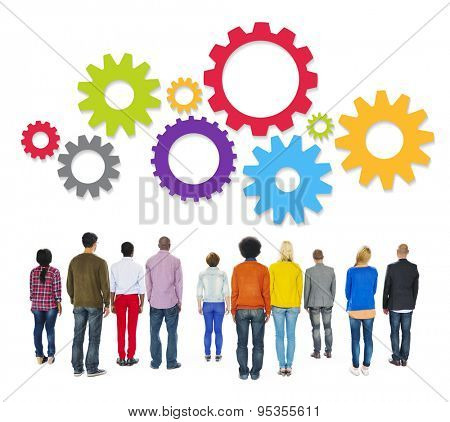 Multiethnic People Standing Facing Back and Gears Above