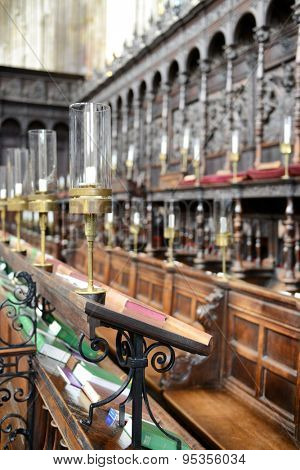 CAMBRIDGE, ENGLAND - MAY 13: Detail of Ornate and Intricately Carved Choir Area of Interior of Kings College Chapel, University of Cambridge, England on May 13, 2015